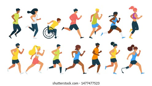 Running people flat vector illustration. Men, women running marathon race, boy in wheelchair cartoon characters. Jogging athletes. People training to competition isolated design element