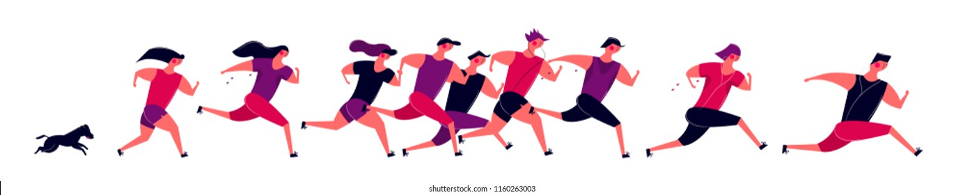 Running people group in motion. Jogging men women and dog training outdoor. Runners prepare for sport competition marathon health running in morning. Vector illustration in cartoon style