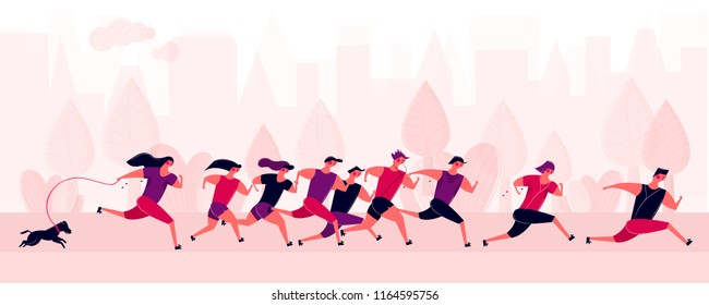 Running people group in motion outdoor park in city. Jogging men women and dog training. Prepare for sport competition marathon health in morning. Vector illustration in cartoon style