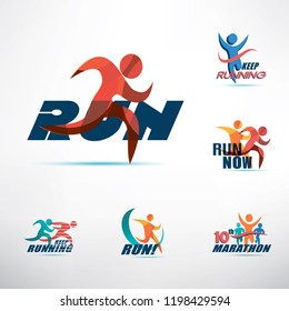 running people logo template, stylized symbols collection, sport and activity concept
