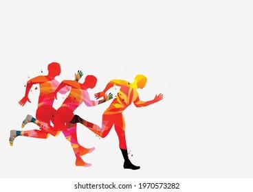 Running people, marathon race poster vector illustration. Jogging active people, fitness training, sport training design for banner, event promo material, flyer