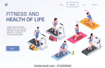 Running people page design with fitness symbols isometric vector illustration