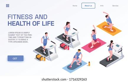 Seitendesign mit Fitnesssymbolen für Menschen mit isometrischer Vektorillustration
