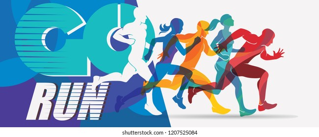 running people set of silhouettes, sport and activity  background, poster template