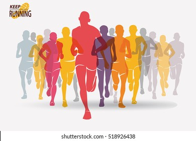running people set of silhouettes, sport and activity  background, competition concept