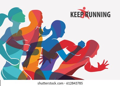 running people set of silhouettes, sport and activity  background.