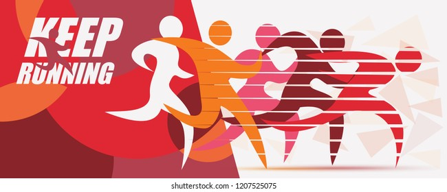 running people set of stylized silhouettes, sport and activity  background, poster template