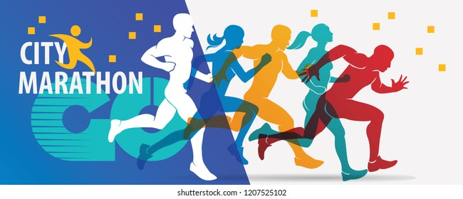 running people set of stylized silhouettes, city marathon background, poster template