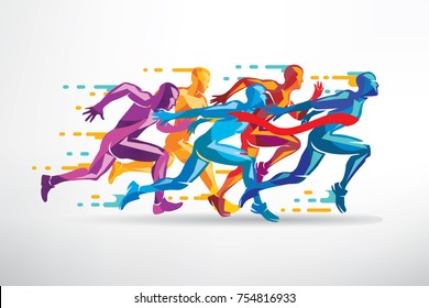 running people set of stylized silhouettes, competition and finish