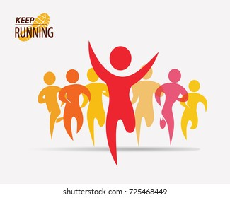 running people set of symbols, competition and finish background
