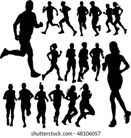 running people set vector