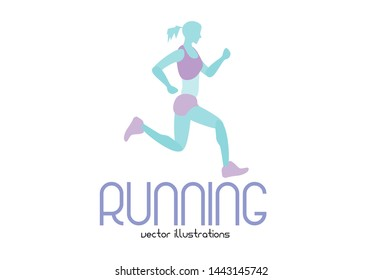 running people silhouettes, sport and activity background
