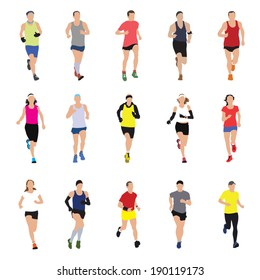 Running people silhouettes. Vector illustration