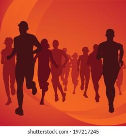 Running people silhouettes Vector Illustration