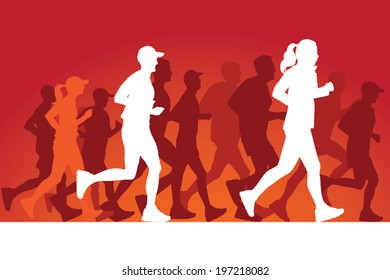 Running people silhouettes. Vector Illustration