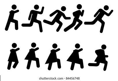 Running people - vector pictogram. Simple black silhouettes isolated on a white background.