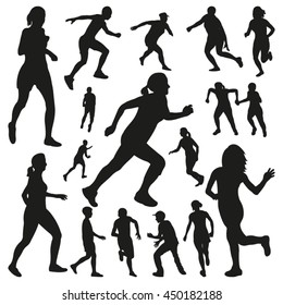 Running People Vector Silhouettes