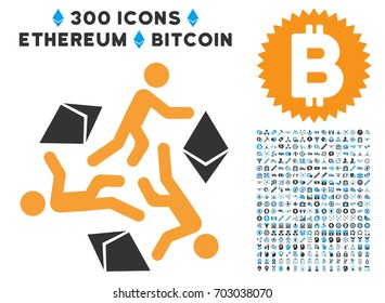 Running Persons For Ethereum icon with 300 blockchain, bitcoin, ethereum, smart contract pictures. Vector illustration style is flat iconic symbols.