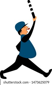A running policeman with whistle and a stick, vector, color drawing or illustration.