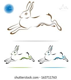 running rabbit outline - side view. Vector illustration