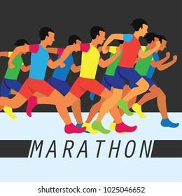 running race people / marathon, sport and activity poster. vector illustration