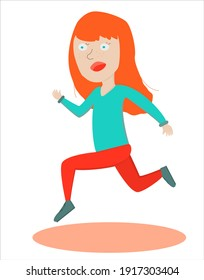 Running red girl on white background in cartoon style. Vector illustration for web-design, posters, postcards, etc