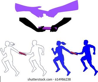 Running Relay Baton Hand Off