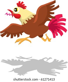Running Rooster Crowing