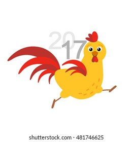 Running Rooster - a symbol of 2017 in a cartoon style. Flat vector illustration isolate on a white background. simply to use