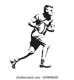 Running rugby player, abstract black vector silhouette