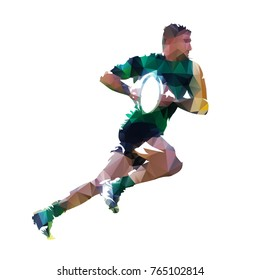 Running rugby player with ball, abstract low poly isolated vector illustration
