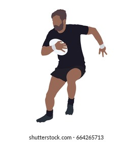 Running rugby player with ball, isolated vector illustration