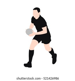 Running rugby player, vector silhouette