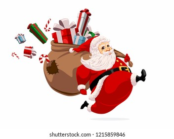Running Santa Claus carrying sack full of gifts and candys