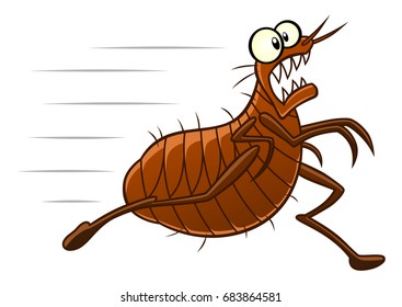 Running scared flea. Cartoon pest series.
