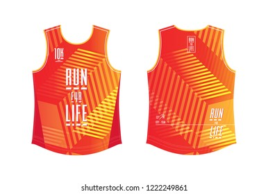 Running shirt template, sport club and mini-marathon shirt mockup design. Red with nice stripes pattern.