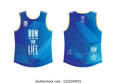 Running shirt template, sport club and mini-marathon shirt mockup design. Blue with nice stripes pattern.