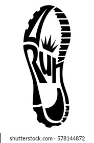 running shoe print with a crown