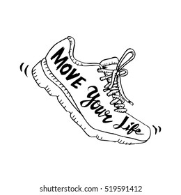 Running shoe symbol - move your life. Sketchy style.