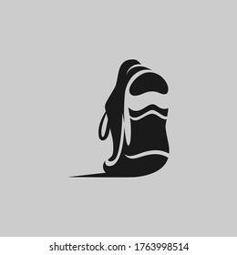 Running shoe symbol on gray backdrop. Design element