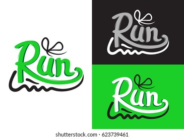 Running shoe symbols on different backgrounds. Logotype with motto credo for fitness center. Fitness keeps fit, sport lifestyle is for everybody. Vector illustration logo means moving rapidly on feet.