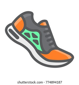 Running shoes filled outline icon, fitness and sport, gym sign vector graphics, a colorful line pattern on a white background, eps 10.