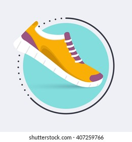 Running shoes icon. Training,  sneaker isolated on blue background. Flat design illustration.