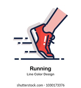 Running shoes Line color icon