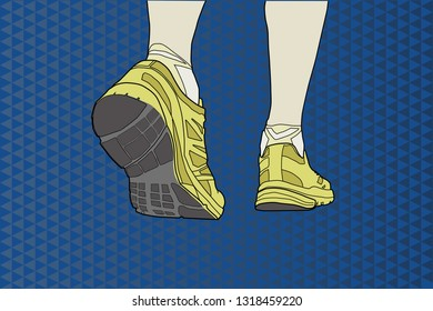 Running shoes over abstract background