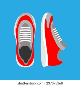 Running shoes pair. Top and front view. Sport Vector illustration