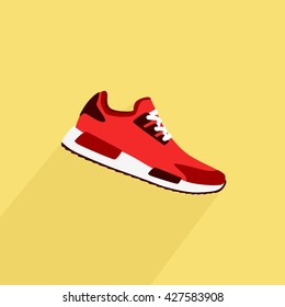 Running shoes, retro shoes. Vector.