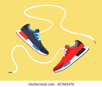 Running shoes. Sport shoes. Sneakers. Vector illustration
