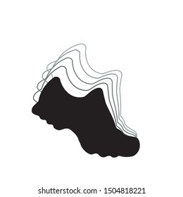 Running shoes. Vector black and white icon for marathon and fitness. Isolated illustration on a white background.