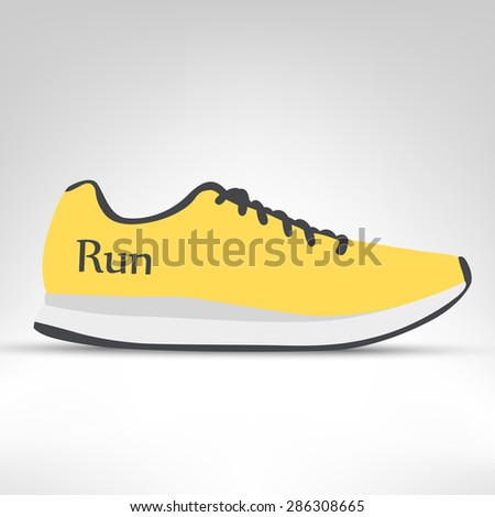 e5610e42246a76 Running shoes vector illustration. Yellow sneakers isolated on white  background.